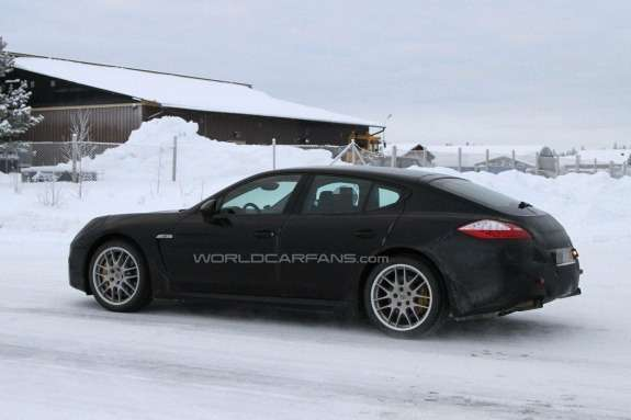 Restyled Porsche Panamera test prototype side view