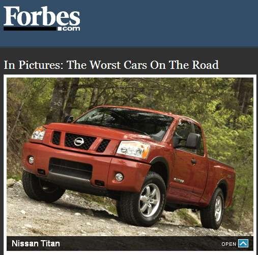 Forbes назвал худшие автомобили вСША