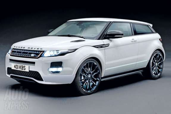 Range Rover Evoque Sport rendering by Auto Express side-front view