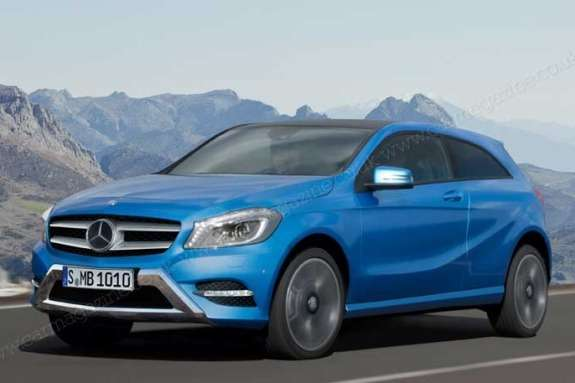 Mercedes-Benz GLA-class rendering by Car Magazine side-front view