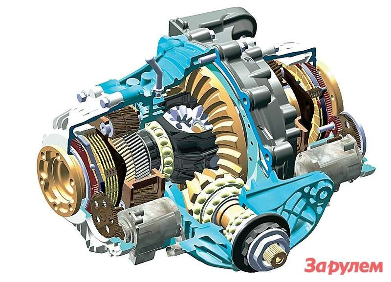 Активный задний дифференциал Dynamic Performance Control отБМВ напоминает попринципу действия AYC, сделанный «Мицубиси». Только тут две повышающие скорость передачи— навалу правого илевого колеса. Идисковые сцепления сжимают негидроприводы, аэлектромоторы. Ноэффект тот же: автомобиль нетолько дольше не соскальзывает страектории, ноиувереннее тормозит итрогается, особенно намиксте. Разумеется, активный дифференциал работает втесном контакте спродвинутой системой стабилизации DSC.