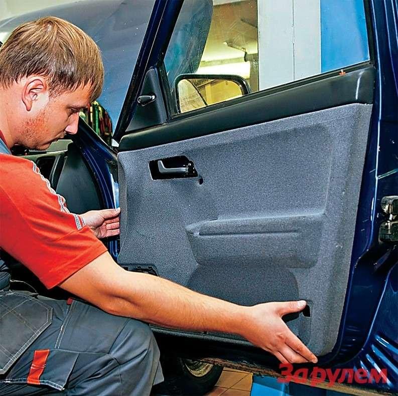 Обивку дверей вымыли тем жеспособом, авысушили за12часов. Для качественного монтажа заменили хрупкие заводские пистоны клипсами улучшенной конструкции (двойные)— 160 руб.