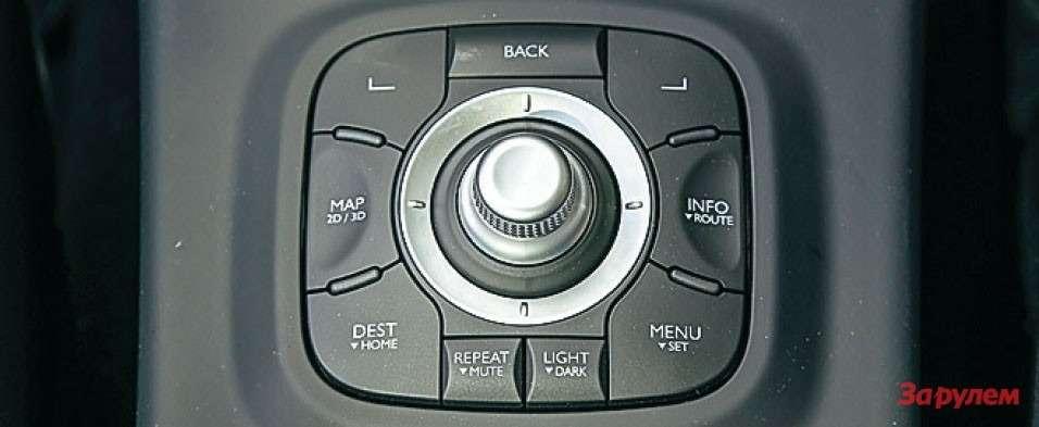 Блок управления мультимедиа сджойстиком размещен заселектором коробки передач.