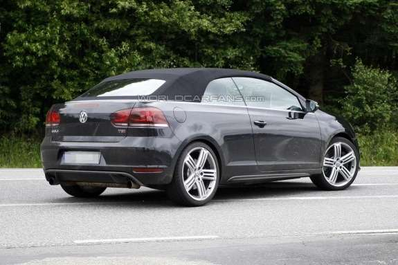 Volkswagen Golf R Cabriolet test prototype side-rear view