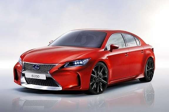 Next Lexus IS sedan rendering side-front view