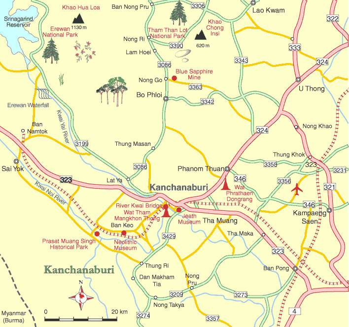 map thai kanchanaburi no copyright