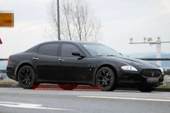 Maserati midsize sedan test mule side-front view