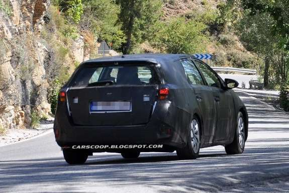New Toyota Auris Estate test prototype side-rear view