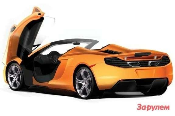 McLaren MP4-12C Roadster rendering side-rear view