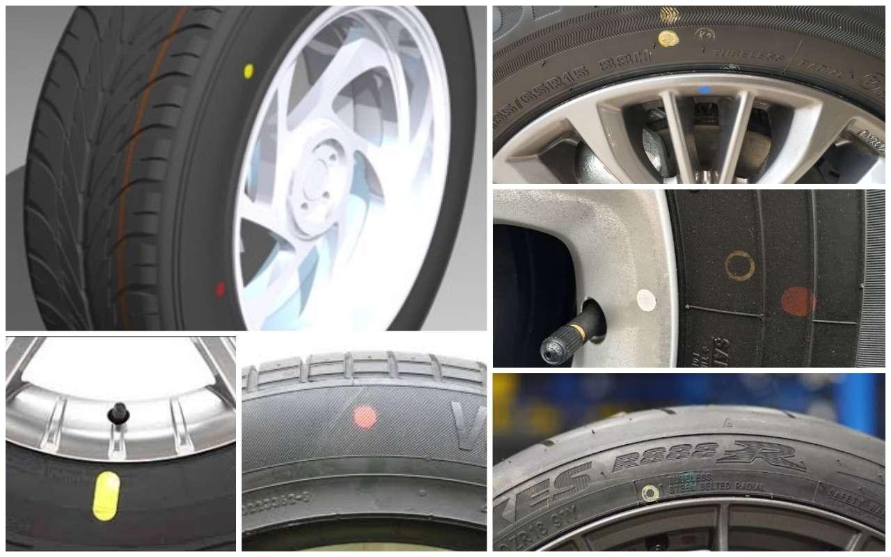 Кроме полос на протекторе шины встречаются цветные точки на боковине. У каждого цвета свой смысл.