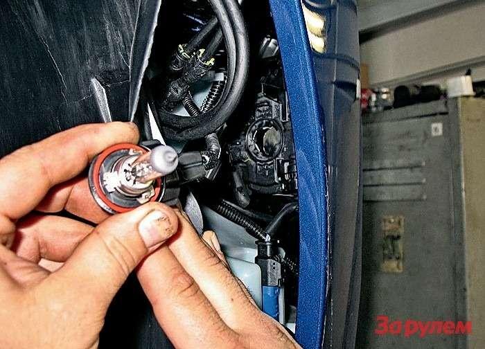 Peugeot 308: Меняем лампу противотуманки: отгибаем бампер и, подцепив подкрылок, выгибаем его впротивоположном направлении. Небойтесь, онне лопнет— детали достаточно пластичны.