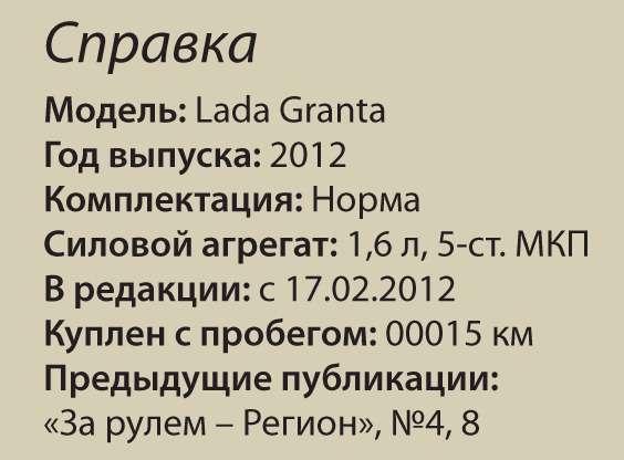 Бортовой журнал Lada Granta