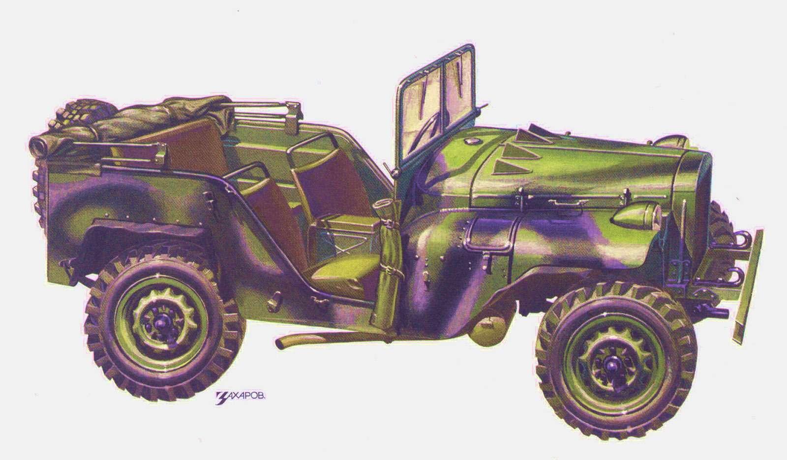 Вездеход ГАЗ-64. Впериод с1941по 1943год выпущено 672 машины. Рисунок Александра Захарова дляисторической серии журнала «Зарулем»