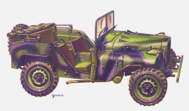 Вездеход ГАЗ-64. В период с 1941 по 1943 год выпущено 672 машины. Рисунок Александра Захарова для исторической серии журнала «За рулем»