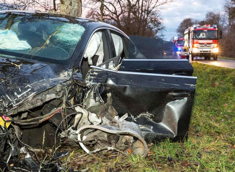Audi A5 after a traffic accident, Berglen, Germany, Dec. 7, 2015.
