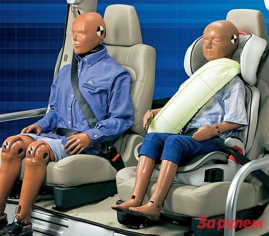 Назадних сиденьях «Форда-Эксплорер» вдиагональные лямки встроены надувные секции. При аварии они дополнительно амортизируют, снижая давление навнутренние органы. Из-за риска ожогов времнях используют холодный газ подменьшим давлением, чем вподушках.