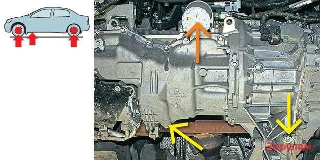 Масляный фильтр (оранжевая стрелка) двигателя доступен только снизу, нозато ничто немешает его открутить. Сливные пробки двигателя иавтомата (желтая стрелка) легкодоступны.