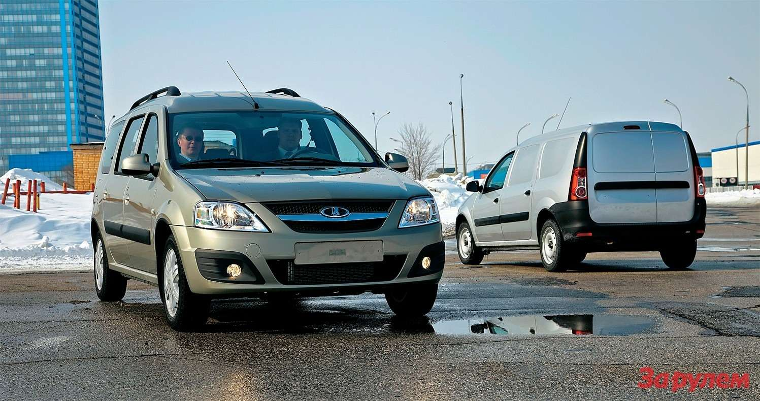 Триварианта кузова (пять, семь мест, фургон), два двигателя (64и 77кВт), три уровня комплектации ипакеты опций образуют 113 возможных вариантов «Ларгуса».