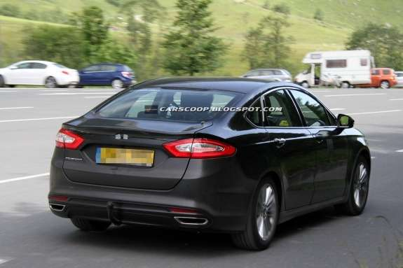 New European Ford Mondeo test prototype side-rear view
