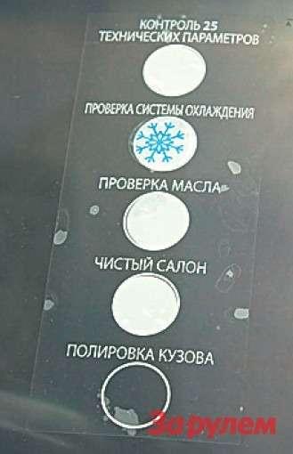 Наклейка означает, что машина прошла подготовку кпродаже, втом числе полировку кузова ихимчистку салона. Пустяк, априятно!