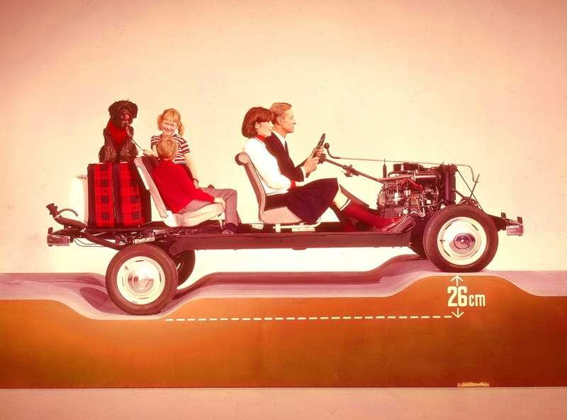 Компьютерной графики, понятно, еще небыло, поэтому, снимая иллюстрации длярекламной брошюры, приходилось идти навсяческие ухищрения. Встудии был построен макет, демонстрирующий великолепную эластичность подвески Renault R4. Намакете также хорошо видна длинная кулиса коробки передач