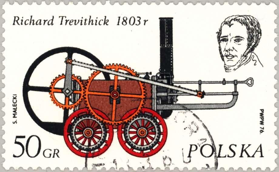 Паровоз Тревитика напольской почтовой марке