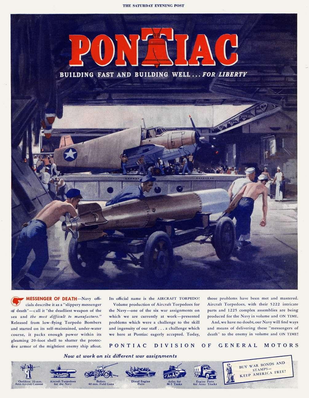 Потрясающая реклама! Продукция завода Pontiac подается как «посланник смерти». Думается, рекламировать автомобили подтаким слоганом мало кто решилсябы