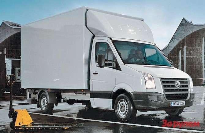 Дорестайлинговый среднебазный Crafter-шасси спромтоварным фургоном полной массой 3,5 тонны