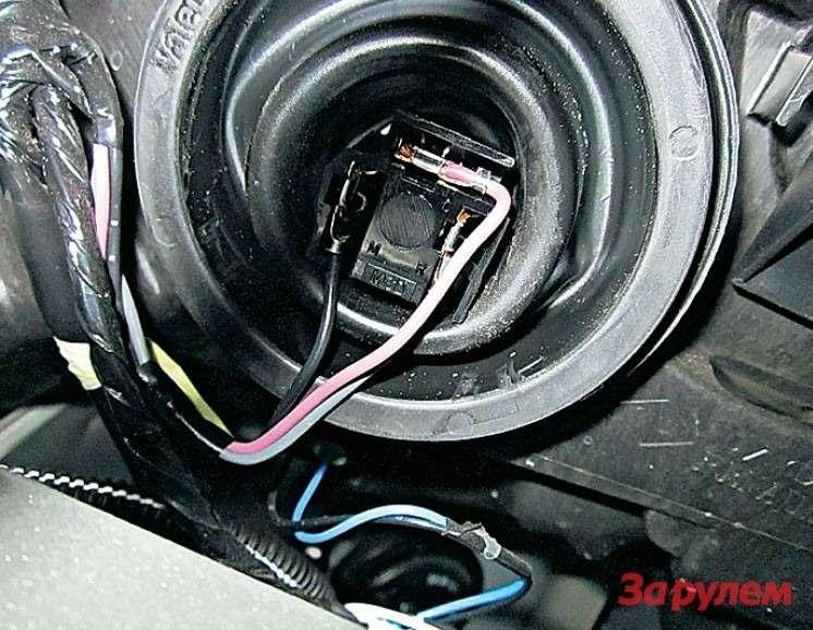 Колодку лампы Н4снять непросто. Берем гвоздь, расплющиваем кончик изагибаем его подпрямым углом. Воткнув кончик между колодкой ицоколем лампы, шевелим гвоздь вправо-влево— иколодка легко сходит.