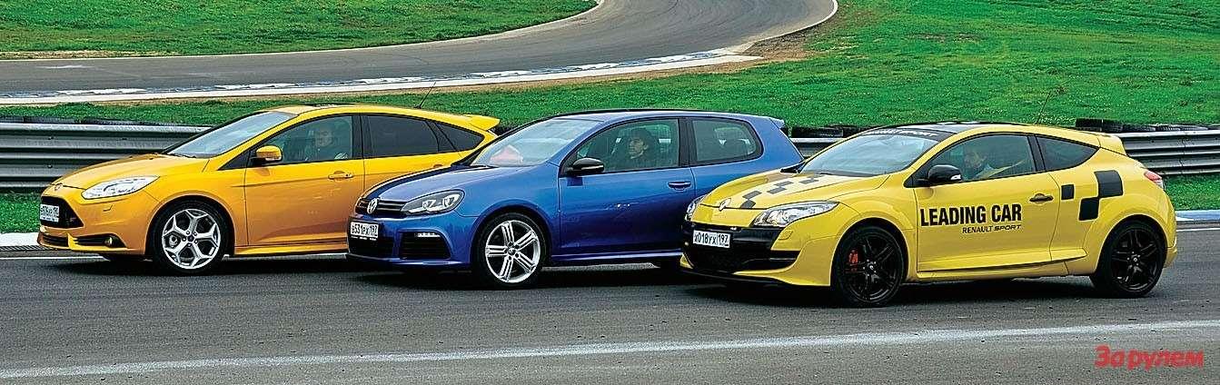 Самый быстрый горячий хэтчбек «Фольксваген-Гольф R» исамый быстрый переднеприводный автомобиль «Рено-Меган RS».