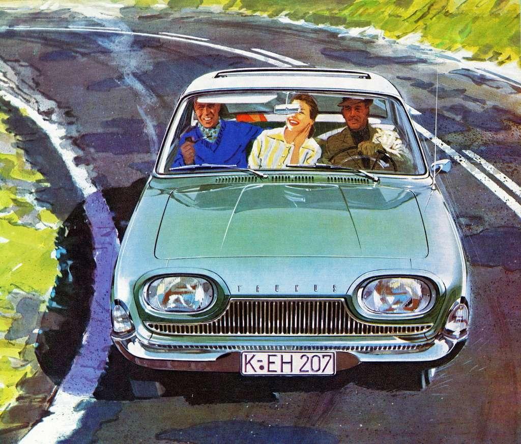 Даже нарекламе Ford Taunus, выполненной знаменитым немецким иллюстратором Гётшке, можно рассмотреть нарегистрационном знаке кружочек T?V