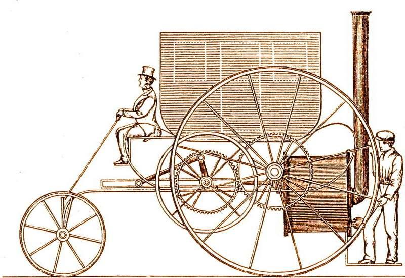 Эскиз парового омнибуса конструкции Тревитика образца 1803 года. Паровик возвышался наогромных колесах диаметром 8футов (2438мм). Сам изобретатель, тоже немаленького (6футов 2дюйма) росту, немог достать рукой доверхней части колеса. Втегоды колесами большого диаметра никого нельзя было удивить— это был способ уменьшить сопротивление качению инагрузку надороги сотнюдь не идеальным покрытием. Ктому жезаспицы удобно было выталкивать карету или дилижанс изгрязи, что делали сами пассажиры