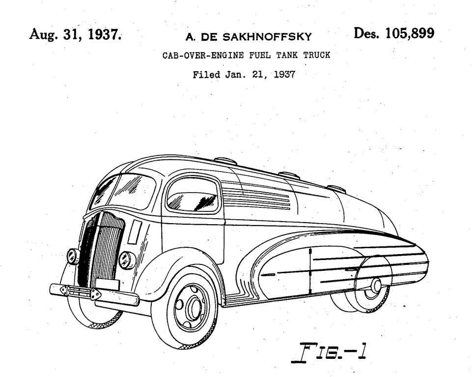 Патент деСахновски наформу грузового автомобиля White, 1937год