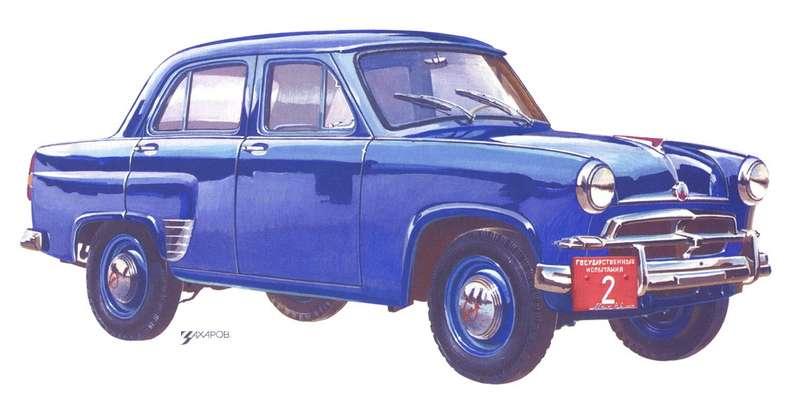Один изпрототипов «Москвич-402» длягосударственных испытаний 1955 года. Рисунок Александра Захарова дляисторической серии «Зарулем»