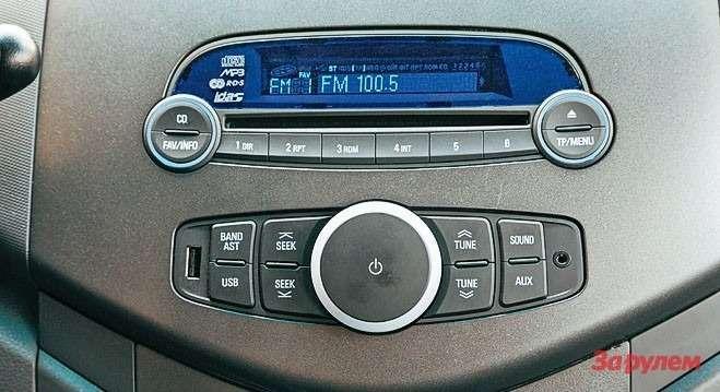 Аудиосистема радует крупными кнопками илогичной компоновкой. Куслугам меломанов— разъемы USB иAUX.