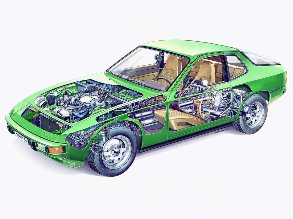 Porsche 924 создавался как проект ЕА425для Volkswagen. Автомобиль оснащался четырехцилиндровым 2-литровым двигателем проекта ЕА831, который впоследствии использовался нацелом ряде машин Volkswagen, вплоть до«бычка» LT28. Кроме того, Porsche 924 оснащался 2,5-литровой «четверкой», пригодившейся налегком грузовике LT31. Ряд решений, вчастности, компоновка transaxle, была перенесена на«924» сPorsche 928. Выпускали Porsche 924на принадлежавшем Volkswagen бывшем заводе NSU вНекарсульме