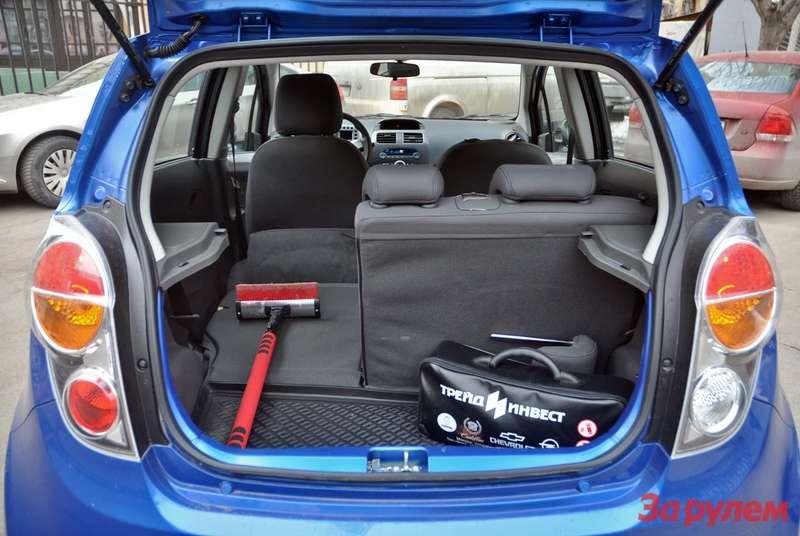 Спинка багажника Chevrolet Spark складывается впропорции 40/60