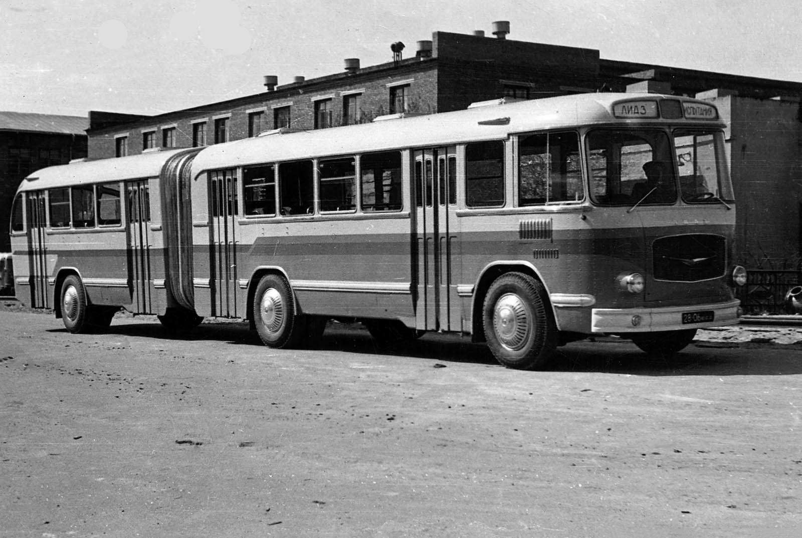 Первый советский сочлененный автобус ЛиАЗ-5Э676, 1962г.